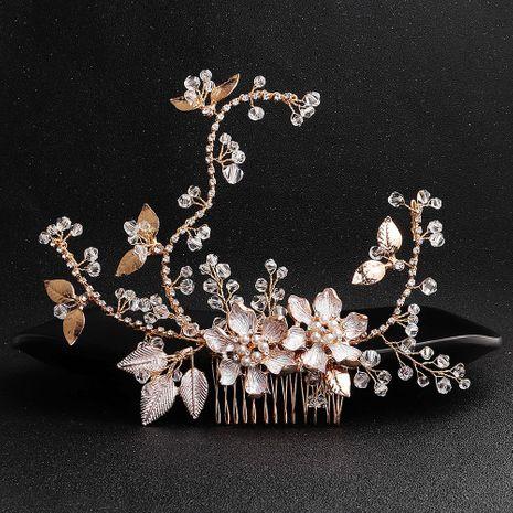 Handmade Bridal Headdress Alloy Flower Branch Hair Comb Pearl Diamond Insert Comb Hair Accessories NHHS183587's discount tags