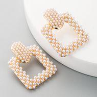 Aretes para mujer de moda pendientes femeninos salvajes llenos de perlas pequeñas pendientes huecos cuadrados exagerados NHLN183755