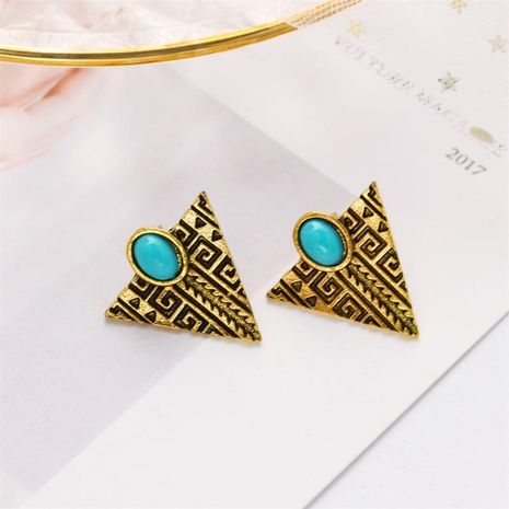Personalized fashion alloy retro triangle turquoise earrings wholesale NHDP183745's discount tags