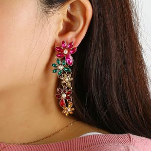 Retro exaggerated colorful diamond geometric color earrings NHKQ183454's discount tags