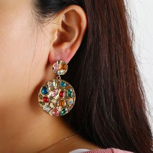 Geometric round stud earrings with colorful diamonds NHKQ183462's discount tags