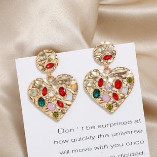 New exquisite fashion peach heart earrings earrings original full diamond resin geometric earrings NHKQ183463's discount tags
