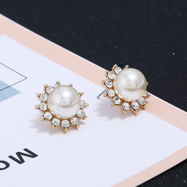 Alloy pearl big earrings still temperament sun earrings cute and simple NHKQ183504