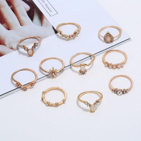Conjunto de anillos de moda con incrustaciones de turquesa femenina Anillo conjunto de joyas al por mayor NHKQ183465's discount tags