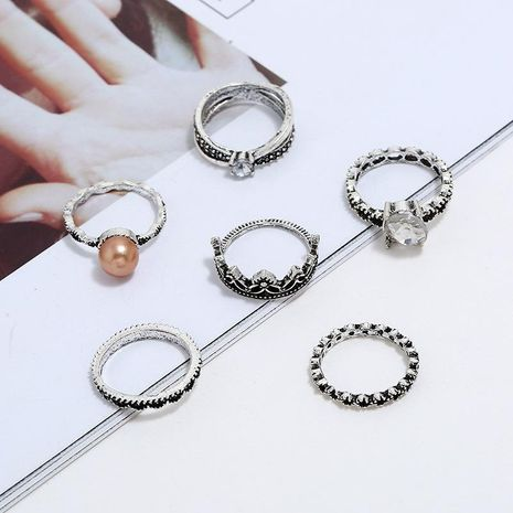 Nuevo anillo conjunto venta caliente retro exagerada combinación de perlas geométricas anillo de 6 piezas NHKQ183469's discount tags