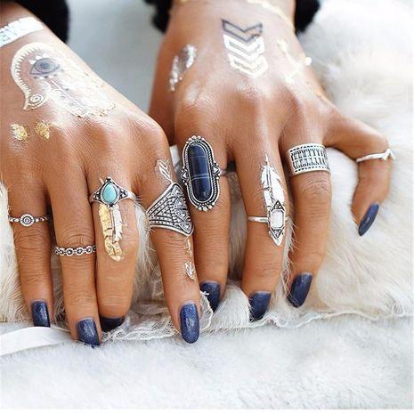 Anillo de traje retro de moda turquesa anillo de 8 piezas al por mayor de moda NHKQ183480's discount tags