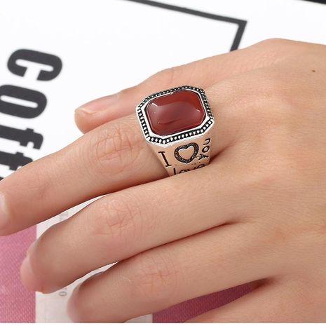 Anillo de aleación de impresión de ágata cuadrada anillo masculino joyería al por mayor NHKQ183494's discount tags