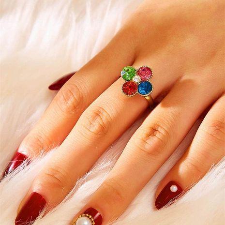 Anillo de cristal anillo de flores de cuatro hojas de diamantes OL NHKQ183529's discount tags