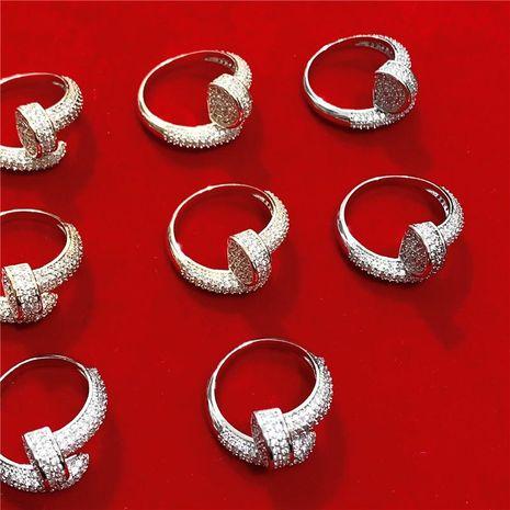 Anillo de diamante flash de micro-incrustación de tornillo espiral de alta calidad de moda NHYQ183659's discount tags