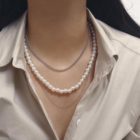 Collar de cadena fina de tres capas de perlas de imitación europeas y americanas NHXR183566's discount tags