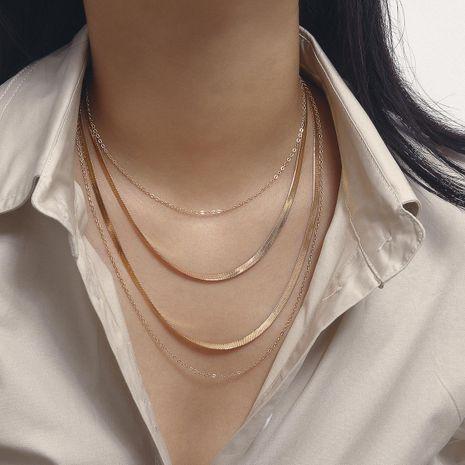 Collar grueso multicapa de cadena de hueso de serpiente geométrica punk de cadena cruzada gruesa NHXR183572's discount tags