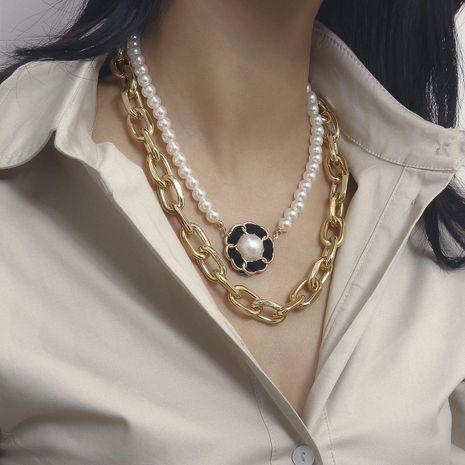 Collar multicapa de flores de franela con perlas de imitación con flecos geométricos vintage en forma de U NHXR183575's discount tags