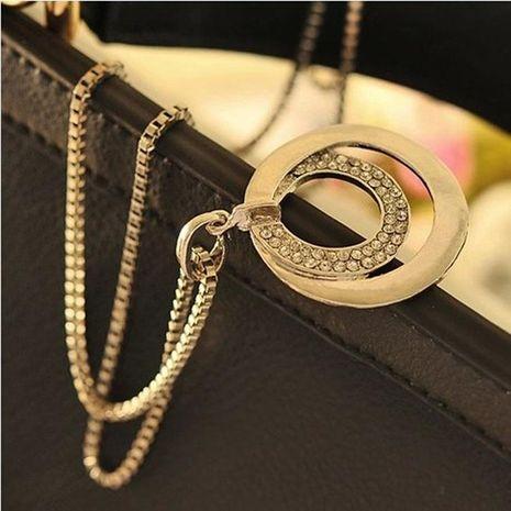 Moda diamante redondo plata cadena larga aleación doble anillo suéter cadena NHDP183750's discount tags