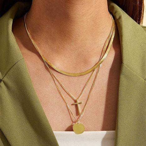 Aleación Etiqueta Cruz Suéter Cadena Moda Simple Religiosa Virgen María Collar de múltiples capas al por mayor de moda NHKQ183518's discount tags
