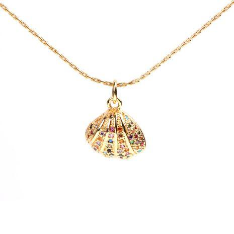 Collar de vieira con incrustaciones de moda Collar de cadena de clavícula simple Galvanoplastia Real Gold Micro Set NHPY183652's discount tags