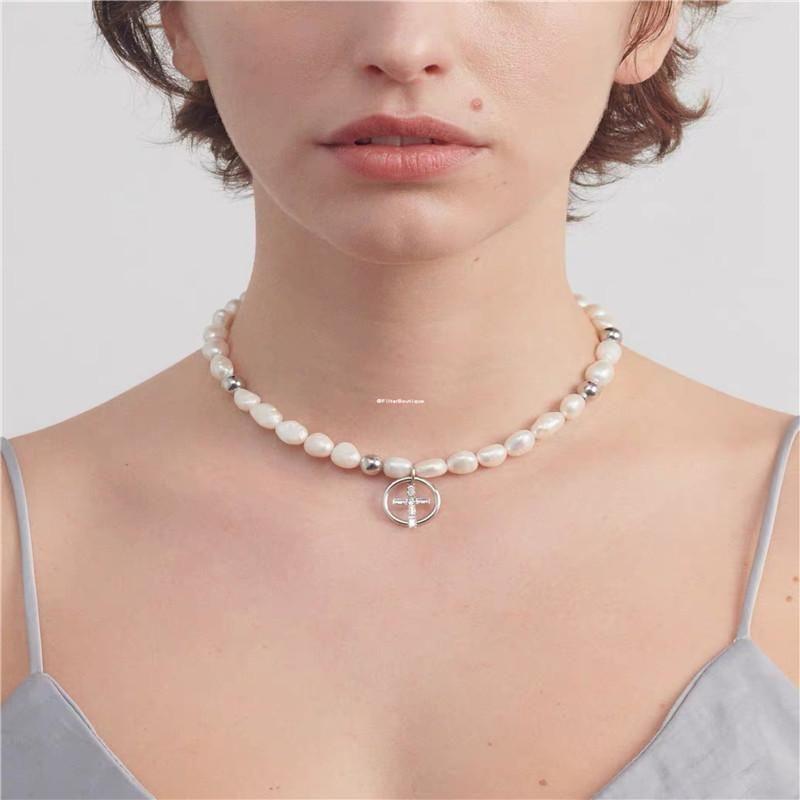 Irregular pearl necklace short fashion rhinestone clavicle chain cross neck chain women NHYQ183705