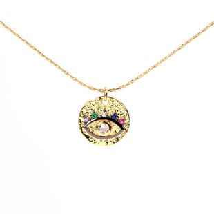 Eye Clavicle Chain Devil's Eye Micro Diamond Round Necklace with Jewelry Wholesale NHPY183654's discount tags