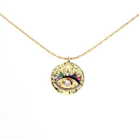 Collar redondo micro del diamante del ojo del diablo de la cadena de la clavícula con la venta al por mayor de la joyería NHPY183654's discount tags