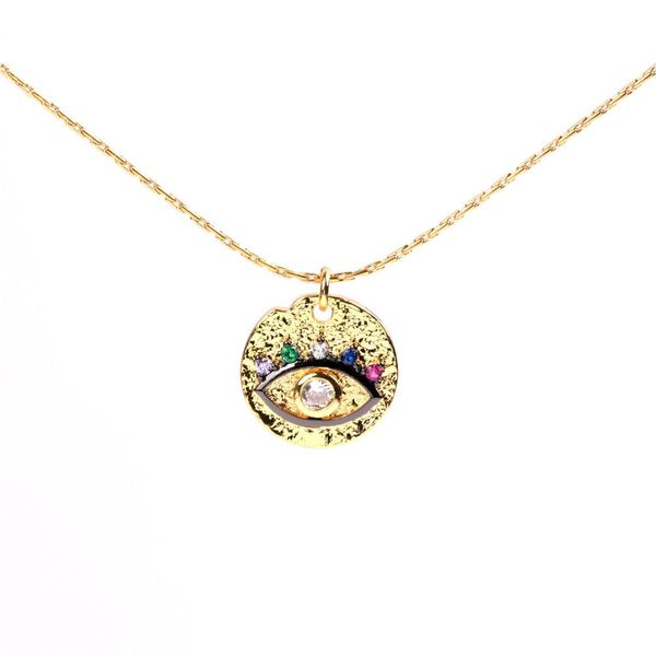 Eye Clavicle Chain Devil's Eye Micro Diamond Round Necklace with Jewelry Wholesale NHPY183654