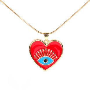 Eyes Love Peach Heart Oil Drop Pendant Necklace Stainless Steel Snake Bone Chain Wholesale NHPY183656's discount tags