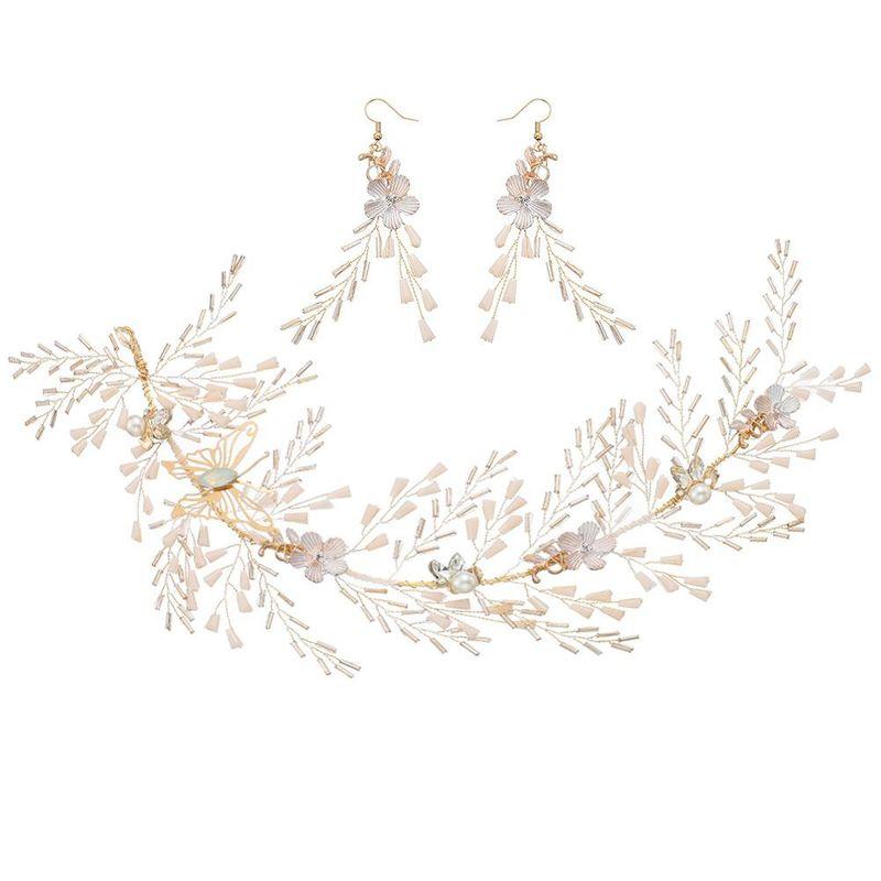 Headdress butterfly headband flower beaded handmade earrings set wholesales fashion NHHS183596