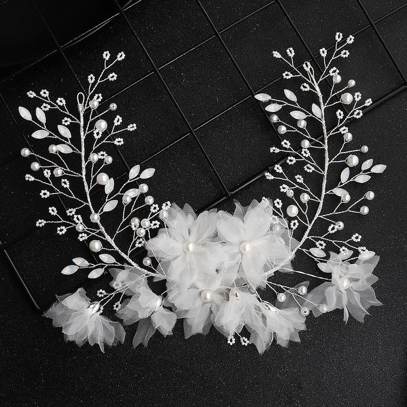 Korean White Rhinestone Wreath Handmade Pearl Hairband Bridal Jewelry NHHS183598