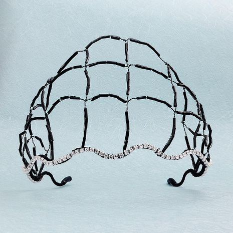 Cristal de pelo neto aro de pelo tejido a mano de onda hueca cabeza aro placa accesorios para el cabello joyería nupcial NHHS183609's discount tags