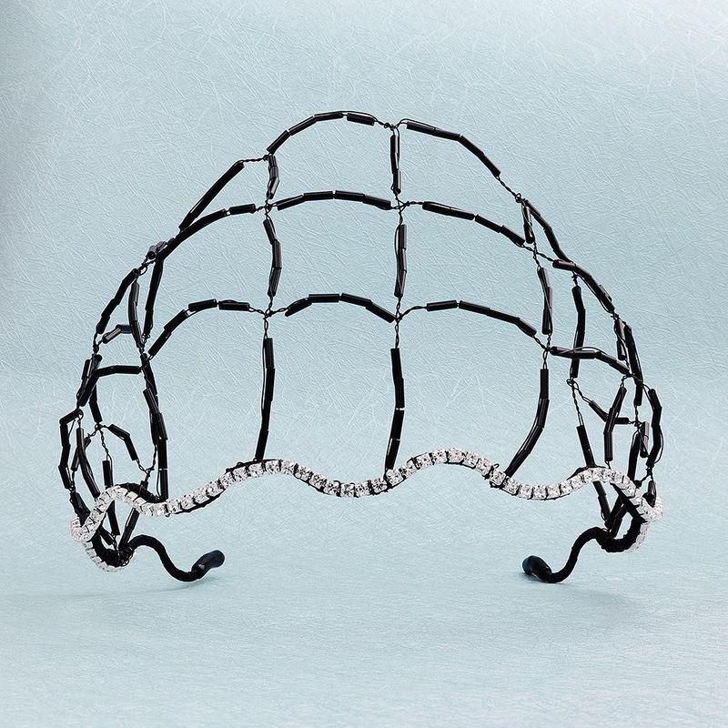 Crystal hair net hair hoop hand-woven hollow wave head hoop plate hair accessories bridal jewelry NHHS183609