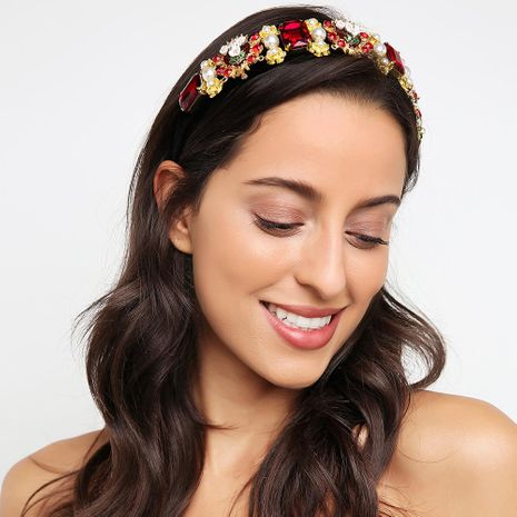Diadema artesanal de lujo pesado aro de piedras preciosas pasarela diadema transfronteriza al por mayor de moda NHMD183542's discount tags