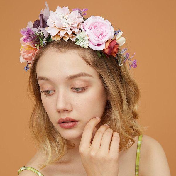 Creative bride wreath spring wedding season artificial rose handmade crown hair accessories NHMD183543