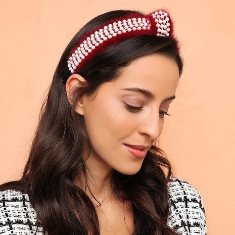 Aro de moda de pelo de visón de punto ancho para mujer con nudos de perlas accesorios para el cabello de punto de color liso NHMD183549's discount tags