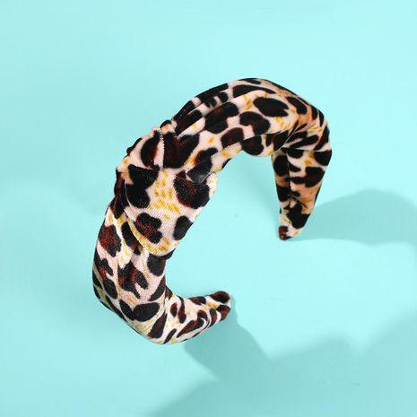 Diadema anudada de pana de punta ancha accesorios para el cabello con personalidad retro de temperamento de leopardo NHMD183550's discount tags