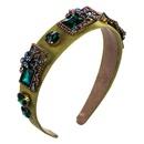 Hair accessories glass diamond inlaid rhinestone alloy accessories hair hoop ladies flannel wide side party headband NHLN183764
