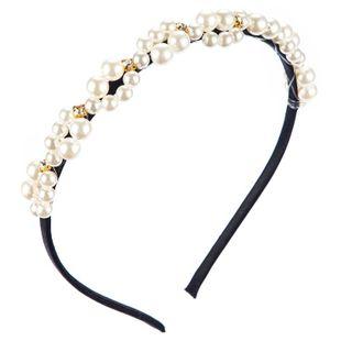 Korean simple new headband female fashion inlaid pearl rhinestone headdress headband NHLN188804's discount tags