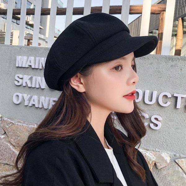Winter retro beret casual octagonal hat painter hat NHXB188940