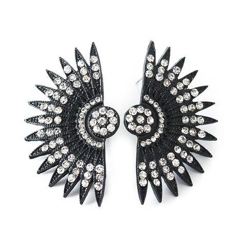 Vintage fan-shaped diamond stud earrings exaggerated earrings sunflower sunflower earrings NHCU188977's discount tags