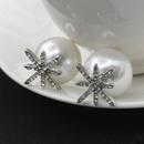 Micro studded star earrings pearl silver stud earrings female flower snowflake earrings NHCU188981