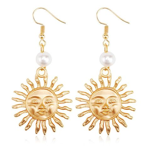 Personalized Pearl Sun Flower Stud Earrings NHCU189006's discount tags