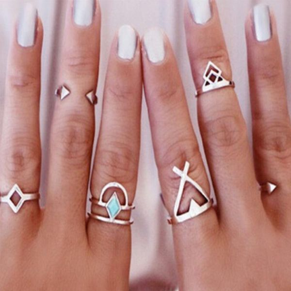 Retro personality geometric square arrow ring six-piece ring ring cross ring NHCU189007