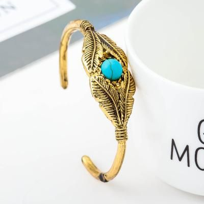 Bracelet Vintage Feather Tree Leaf Bangle Bracelet Inlaid Turquoise Bracelet Wholesale NHCU189014's discount tags