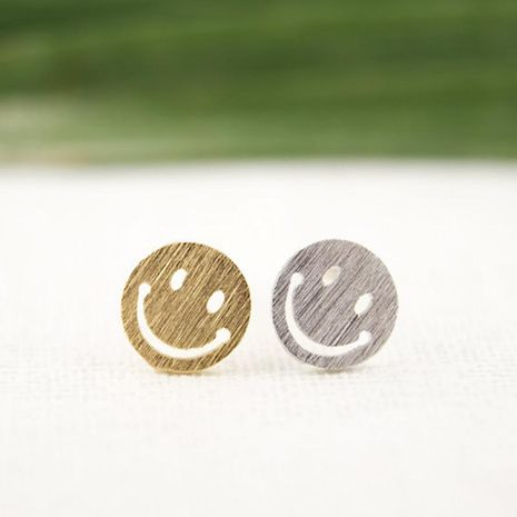Best selling student earrings round hollow smiley earrings wholesale NHCU189016's discount tags