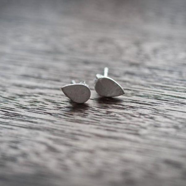 Simple Water Drop Ear Studs Hand Brushed Earrings Wholesale NHCU189020
