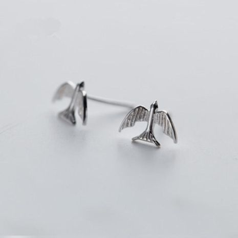 Small bird earrings environmental protection electroplating gold silver silver rose tricolor peace pigeon earrings NHCU189029's discount tags
