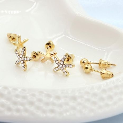 Gold-plated small starfish earrings three-piece female cute sweet diamond earrings earrings jewelry NHCU189032's discount tags