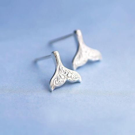 Simple Mermaid Stud Earrings Gold-plated Silver Fishtail Ear Studs NHCU189039's discount tags