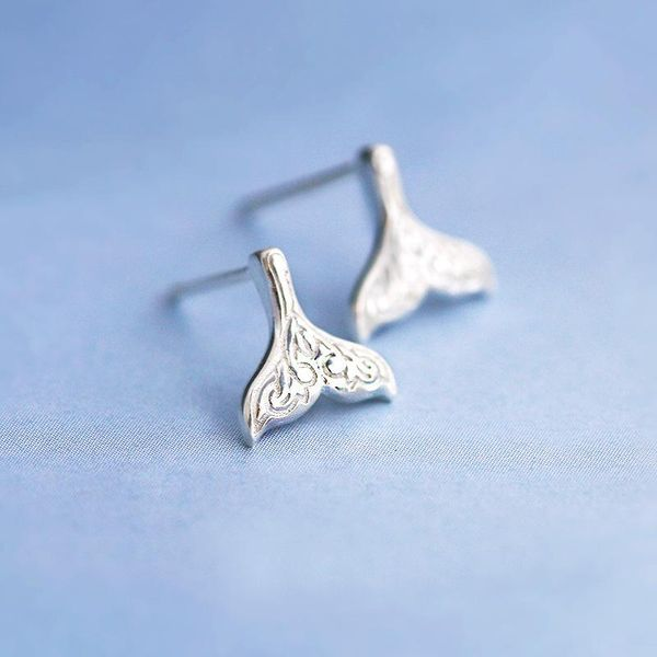 Simple Mermaid Stud Earrings Gold-plated Silver Fishtail Ear Studs NHCU189039