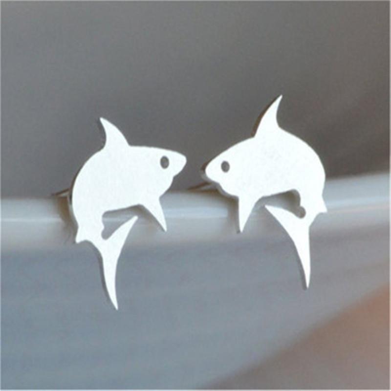 Simple Shark Ear Studs Small Whale Ear Studs Marine Animals Great White Shark Ear Studs Small Fish Ear Studs NHCU189040