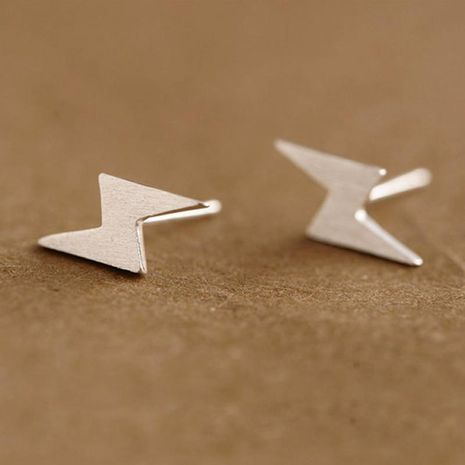 Hand Drawn Brushed Lightning Stud Earrings NHCU189049's discount tags