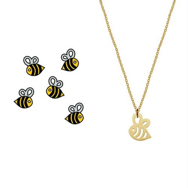 Hollow small bee necklace color-plated gold and silver cute little insect pendant necklace clavicle chain NHCU189050