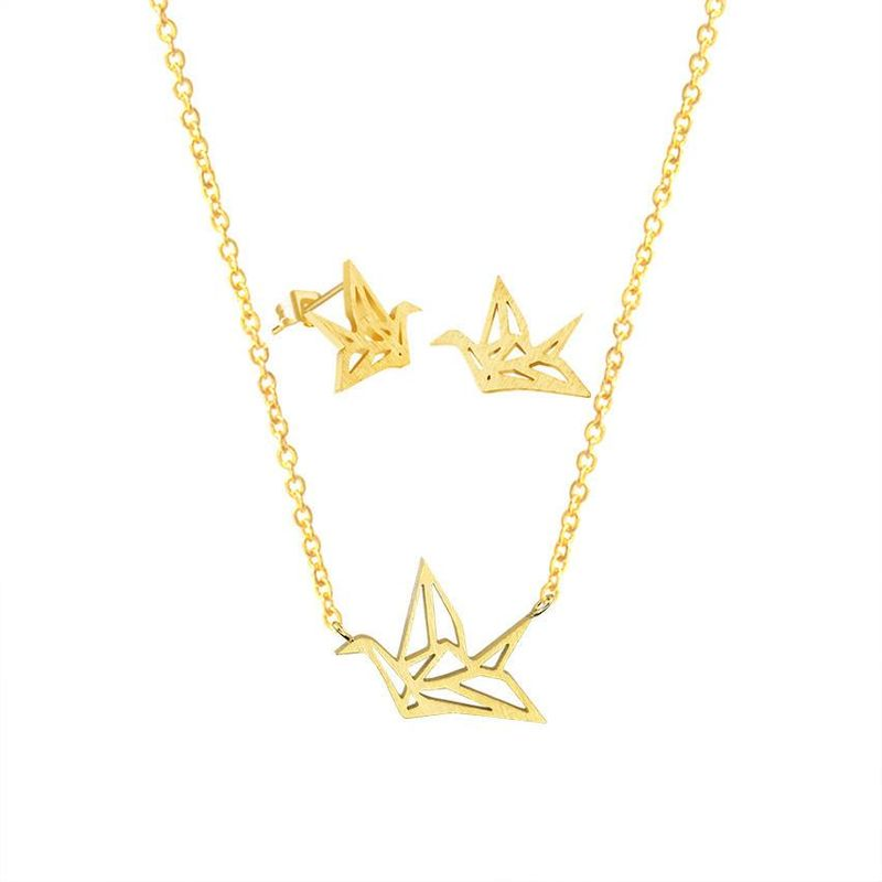Necklace Classic Thousand Paper Crane and Peace Pigeon Pendant Necklace Earrings Set Wholesale NHCU189051